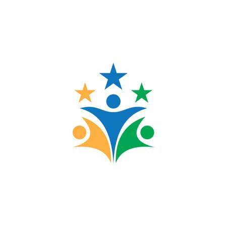 people star teamwork business logo