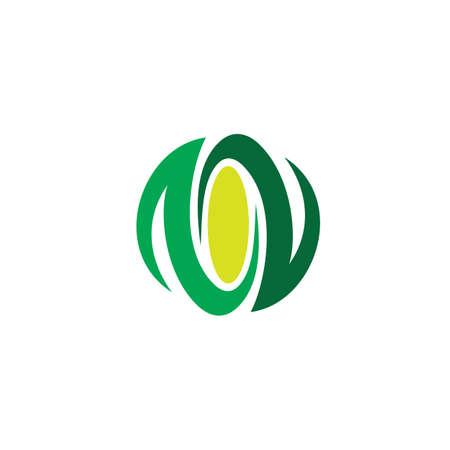 circle leaf eco logo vector