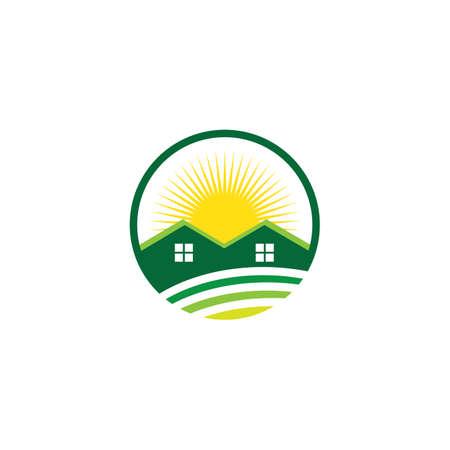 circle sun house real estate business logo
