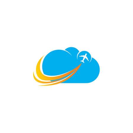 Cloud airplane aviation logo Ilustração