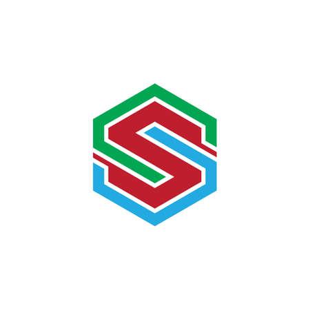 hexagon letter s logo business Ilustração