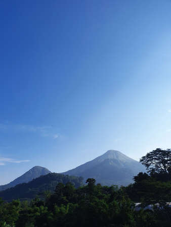 Mount Penanggungan with blue sky