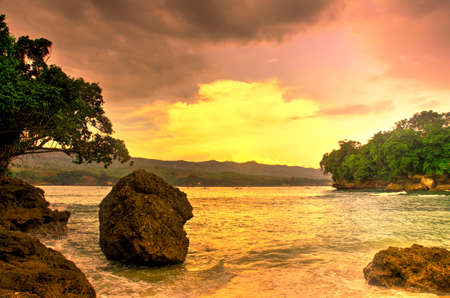 Brumbun Beach in hdr - Tulungagung, East Java, Indonesia Banco de Imagens