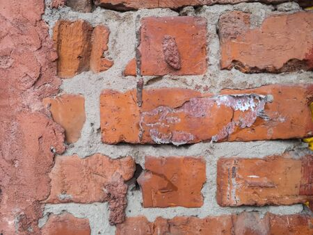 Texture of old red brick brick wall clay. Ancient brickwork background.