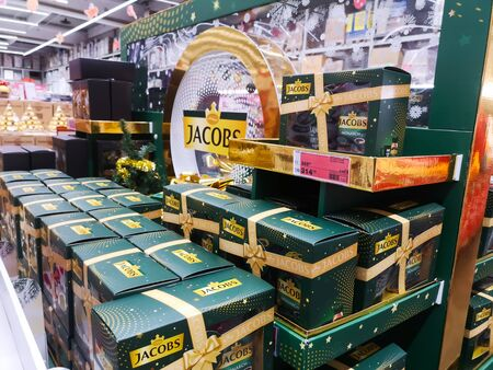 German Jacobs coffee popular in Europe on shelf for sale at Auchan Shopping Centre on December 25, 2019 in Russia, Kazan, Hussein Yamasheva Avenue 46. Sajtókép