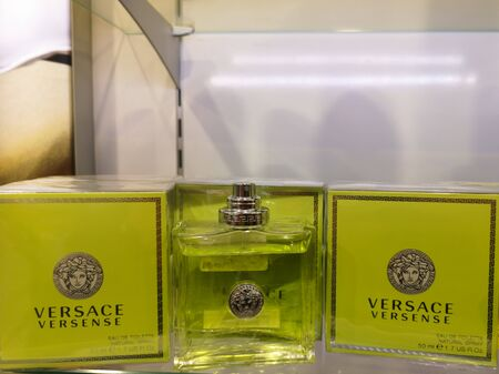 Versense Versace fragrance for women, it belongs to the group of wood floral musks. In the shopping center on January 15, 2020 at Russia, Kazan, Ibragimov Avenue 56 Editorial