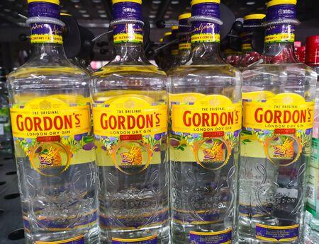 English dry gin Gordon s in glass bottle 1 litre was put up for sale in the hypermarket Metro AG on January 20, 2020 in Russia, Kazan, Tikhoretskaya Street 4