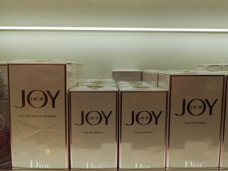 Fragrance for women joy by dior eau de parfum from Christian Dior in perfume and cosmetics store on February 10, 2020 in Russia, Tatarstan, Kazan, Pushkin Street 2. Editorial