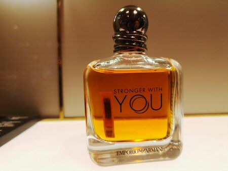 Male perfume Emporio Armani Stronger with You fragrance for men in perfume and cosmetics store on February 10, 2020 in Russia, Tatarstan, Kazan, Pushkin Street 2.