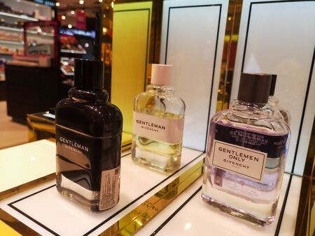 Male aroma of Cologne Eau de Parfum Givenchy and Gentleman Only Givenchy at Perfume and Cosmetics Store on February 10, 2020 in Russia, Tatarstan, Kazan, Pushkin Street 2. Editorial