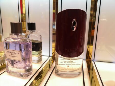 Male aroma of cologne Givenchy pour Homme and Gentleman Only Givenchy in perfume and cosmetics store on February 10, 2020 in Russia, Tatarstan, Kazan, Pushkin Street 2.