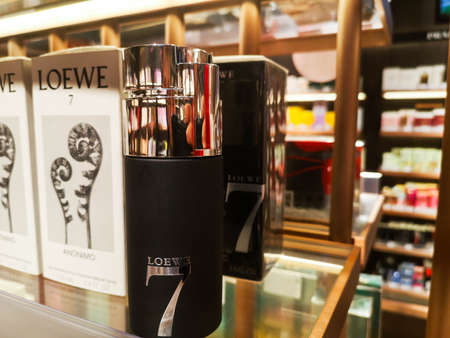 Cologne for men Loewe 7 Anonimo from the brand Loewe in the store of perfumes and cosmetics on February 10, 2020 in Russia, Tatarstan, Kazan, Pushkin Street 2. Editorial