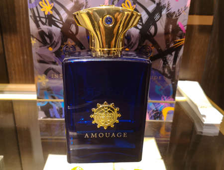 Fragrance for men eastern Amouage Interlude man from Oman Perfumery in perfume and cosmetics store on February 10, 2020 in Russia, Tatarstan, Kazan, Pushkin Street 2. Editorial