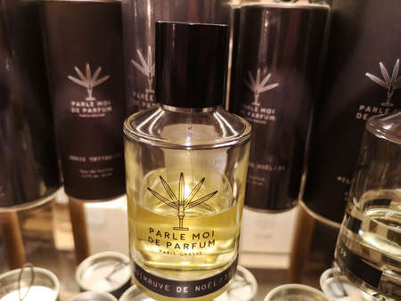 Men's cologne Parle Moi de Parfum Guimauve de Noel in the perfumery and cosmetics store February 20, 2020 in Russia, Tatarstan, Kazan, Pushkin street 2.