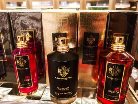 Mancera Black Gold Male Cologne and Mancera Red Tobacco Unisex Flavor at Perfume and Cosmetics Store on February 20, 2020 in Russia, Tatarstan, Kazan, Pushkin Street 2.