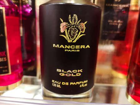 Cologne aroma for men Mancera Black Gold eau de parfum at perfume and cosmetics store on February 20, 2020 in Russia, Tatarstan, Kazan, Pushkin Street 2. Editorial