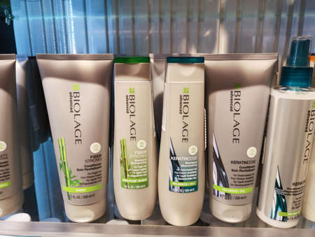 Biolage advanced fiberstrong bamboo shampoo for brittle hair and Biolage Keratindose Shampoo and Conditioner for damaged hair from Matrix in store 20. 02. 2020 in Russia, Kazan, Pushkin Street 2.