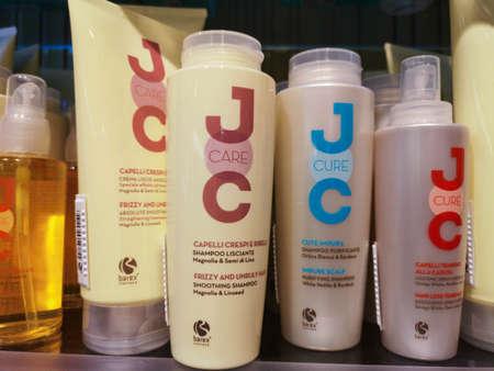 Set of shampoo against dandruff, hair loss, for dry and brittle hair Barex Italiana Joc Care in perfume and cosmetics store on February 20, 2020 in Russia, Tatarstan, Kazan, Pushkin Street 2. 新聞圖片