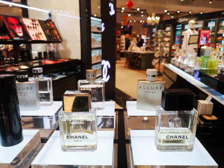 Men's cologne Egoiste Platinum Chanel eau de toilette at perfume and cosmetics store on February 10, 2020 in Russia, Tatarstan, Kazan, Pushkin Street 2.