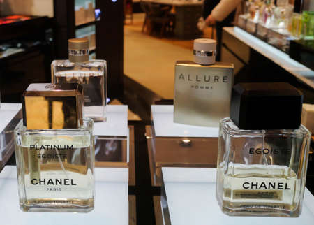 Men's Cologne Egoiste Platinum Chanel eau de toilette with wood and muscat flavor and cosmetics store February 10, 2020 in Russia, Tatarstan, Kazan, Pushkin Street 2. Editorial