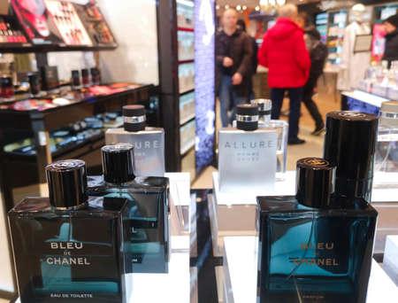 Men 's cologne Bleu de Chanel eau de toilette with wood and fuzzy flavor in perfume and cosmetics store February 10, 2020 in Russia, Tatarstan, Kazan, Pushkin Street 2. Editorial