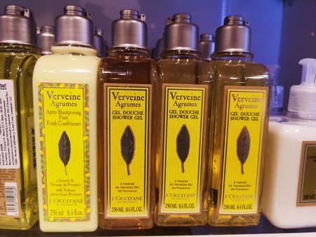 Shower gel Loccitane Verveine Agrums Gel Douche Shower Gel at perfumery and cosmetics store on February 25, 2020 in Russia, Tatarstan, Kazan, Pushkin Street 2.