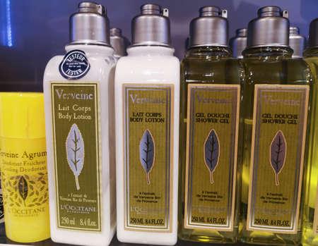 Shower gel Loccitane Verveine Agrums Gel Douche Shower GelAnd moisturizing milk for body Verbena body lotion in perfume and cosmetics store 25.02.2020 in Russia, Tatarstan, Kazan, Pushkin Street 2.