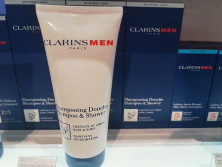 Tonic hair and body shampoo-gel for men clarins shampooing douche at perfume and cosmetics store February 26, 2020 in Russia, Tatarstan, Kazan, Pushkin Street 2 Sajtókép