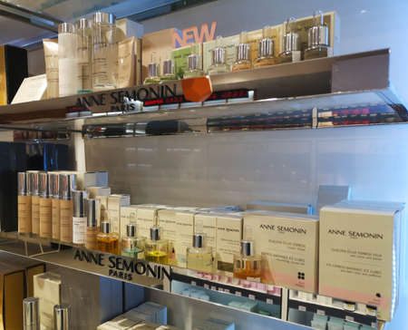 Set of flavors and cosmetics for face and body care from Anne Semonin in the perfume and cosmetics store on February 25, 2020 in Russia, Tatarstan, Kazan, Pushkin Street 2