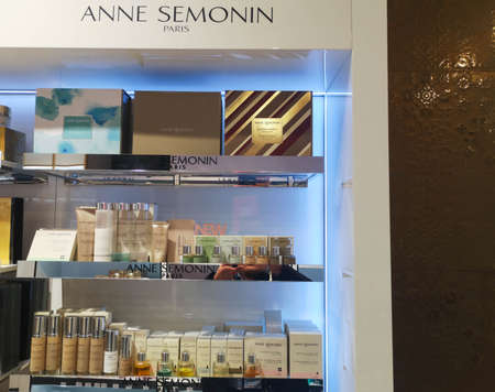 Cosmetic set for face and body care from French brand Anne Semonin in perfume and cosmetics store on February 25, 2020 in Russia, Tatarstan, Kazan, Pushkin Street 2