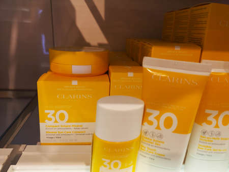 Sun fluid for face Clarins Fluide Solaire Mineral Visage SPF 30 in perfumery and cosmetics store on February 25, 2020 in Russia, Tatarstan, Kazan, Pushkin Street 2