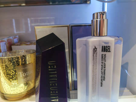 Milk for body for women lotion Mugler Angel in perfume and cosmetics store on February 25, 2020 in Russia, Tatarstan, Kazan, Pushkin Street 2