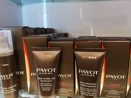 Payot Homme Face Gel Optimale Soin Hydra 24H Matifiant at Cosmetics Store on February 10, 2020 in Russia, Tatarstan, Kazan, Pushkin Street 2