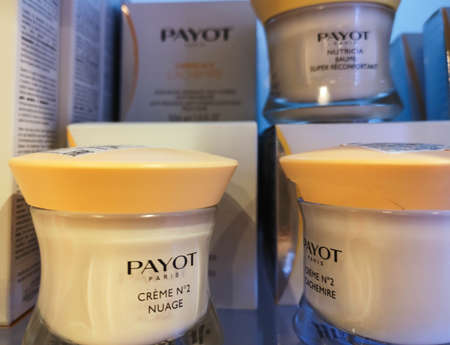 Calming agent relieving stress and redness with rich texture Payot Creme No2 Cachemire in perfume and cosmetics store on February 20, 2020 in Russia, Tatarstan, Kazan, Pushkin Street 2