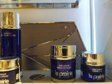 Face cream with icon extract La Prairie Skin Caviar Luxe Cream at Perfume and Cosmetics Store on February 25, 2020 in Russia, Tatarstan, Kazan, Pushkin Street 2