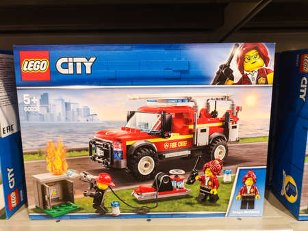 Game constructor LEGO City 60231 Truck of the head of the fire department in a store on a shelf in the department of childrens toys May 2020 in Tatarstan, Kazan, Victory Avenue 141