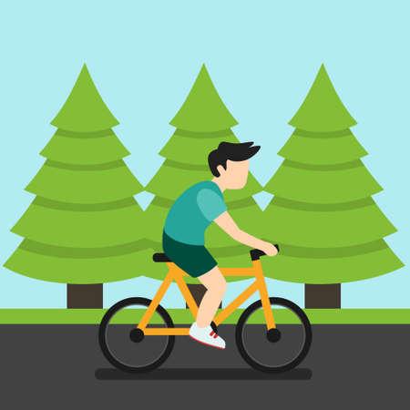 Man Biking on Road Woods Vector Illustration Flat Design