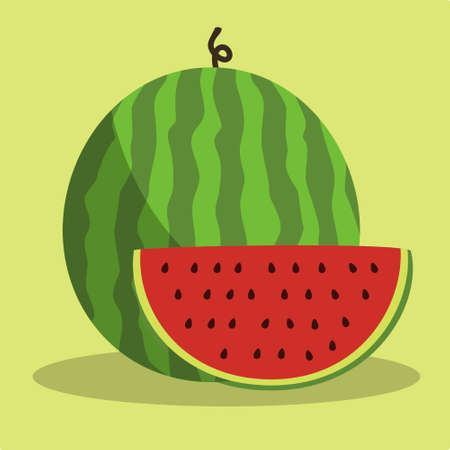 Watermelon Fruit Sliced Vector Illustration