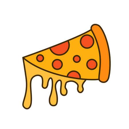 Pizza cut with cheese vector illustration Ilustração