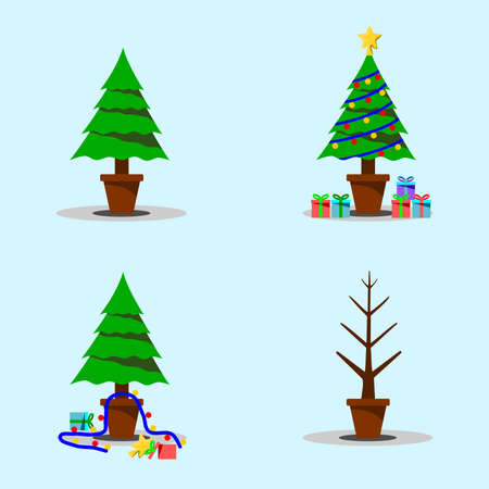 The fir tree before Christmas is full of decoration and after Christmas is neglected