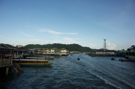 kampung: A daily look of Kampung Ayer or water village in the city of Bandar Seri Begawan, Brunei Darussalam Editorial