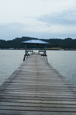 Pier or jetty view at a Kampung Ayer in Brunei