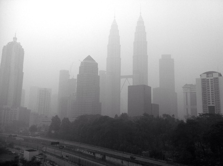 haze: Kuala lumpur city in haze