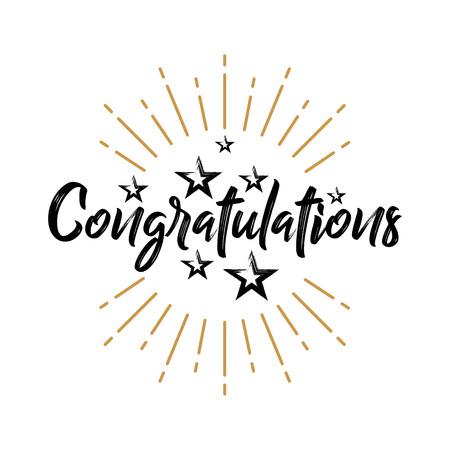 Congratulations - Fireworks - Grunge, Handwritten vector illustration, brush pen lettering, for greeting