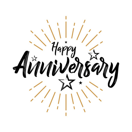 Happy Anniversary - Vintage Typography - Grunge, Handwritten vector illustration, brush pen lettering, for greeting 向量圖像