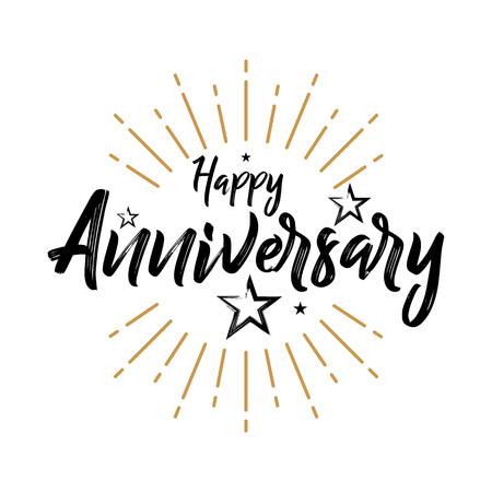 Happy Anniversary - Vintage Typography - Grunge, odręczny ilustracji wektorowych, pędzla pióra napis, na powitanie