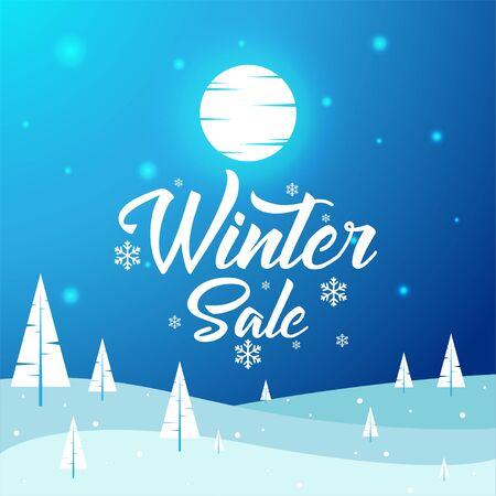 Winter Sale - Beautiful Winter Landscape, Flat, New Year, Vector Illustration