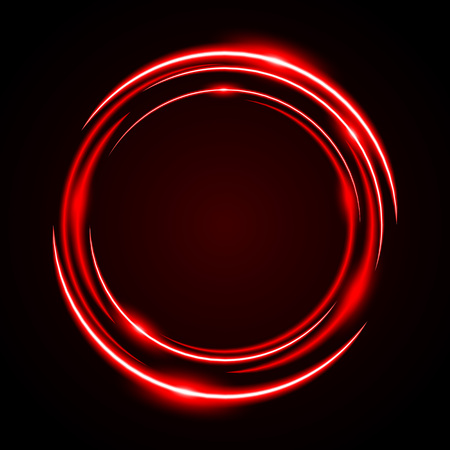 Abstract Circle Neon Light Red Frame, halo vector background