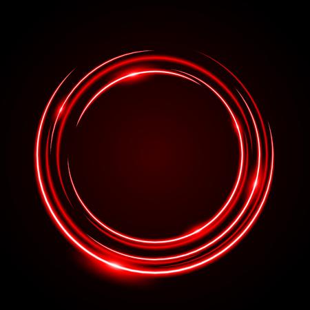 Abstract cirkel neonlicht rood frame, halo vector achtergrond Vector Illustratie
