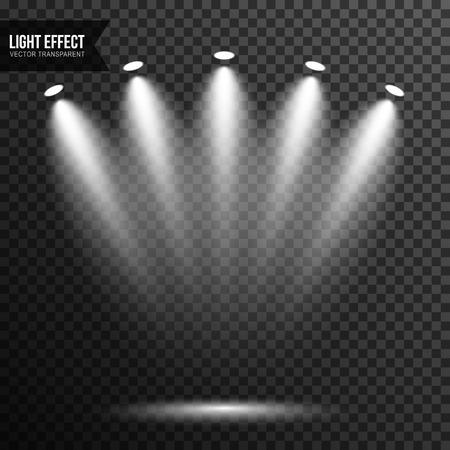 Illuminazione spot, luce intensa, palco, vettore podio trasparente Vettoriali